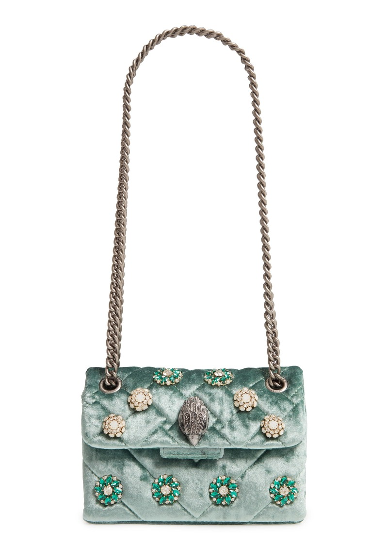 Kurt Geiger London Mini Kensington Embellished Velvet Crossbody Bag