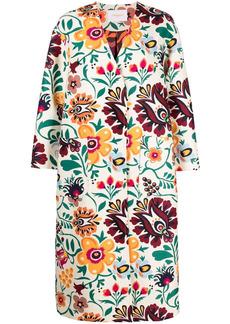 La Doublej floral-print snap-fastening coat