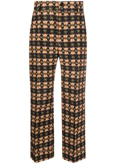 La Doublej Hendrix geometric print cropped trousers
