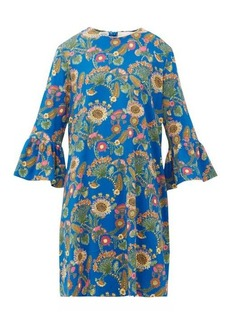 La DoubleJ 24/7 thistle-print trumpet-sleeve crepe dress
