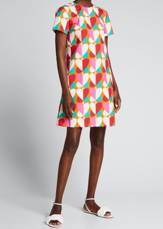 La DoubleJ Abstract Heart-Print Mini Swing Dress