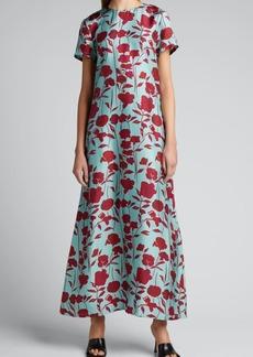La DoubleJ Floral-Print Silk Long Swing Dress