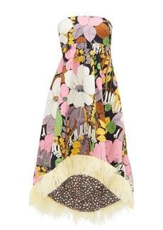 La DoubleJ La Scala dip-hem floral-print cotton-blend dress