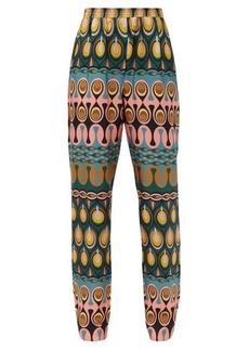 La DoubleJ Printed silk-twill trousers