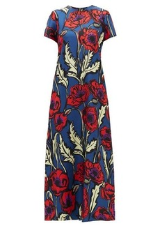 La DoubleJ Swing Big Blooms silk crepe de Chine dress