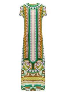 La DoubleJ Swing Ittica-print satin dress