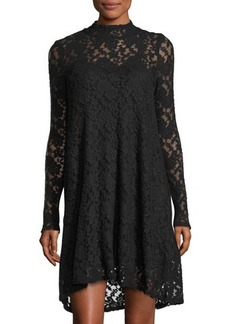 LA Made Cecil Long-Sleeve Lace Turtleneck Dress