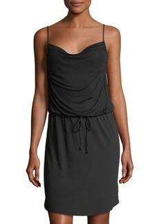 LA Made Draped Drawstring-Waist Mini Dress