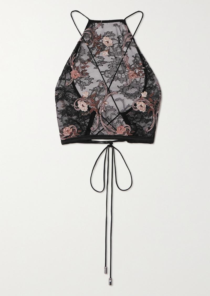 La Perla Altea Cropped Embroidered Leavers Lace Top