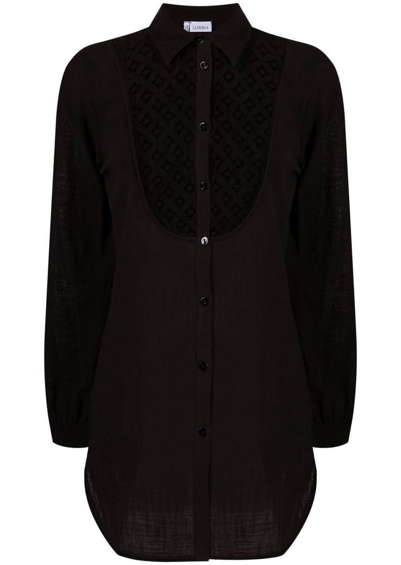La Perla cut out-detail button-up shirt