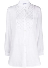 La Perla embroidered bib buttoned shirt
