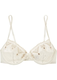 La Perla Entry Embroidered Tulle And Stretch-silk Satin Half-cup Underwired Bra