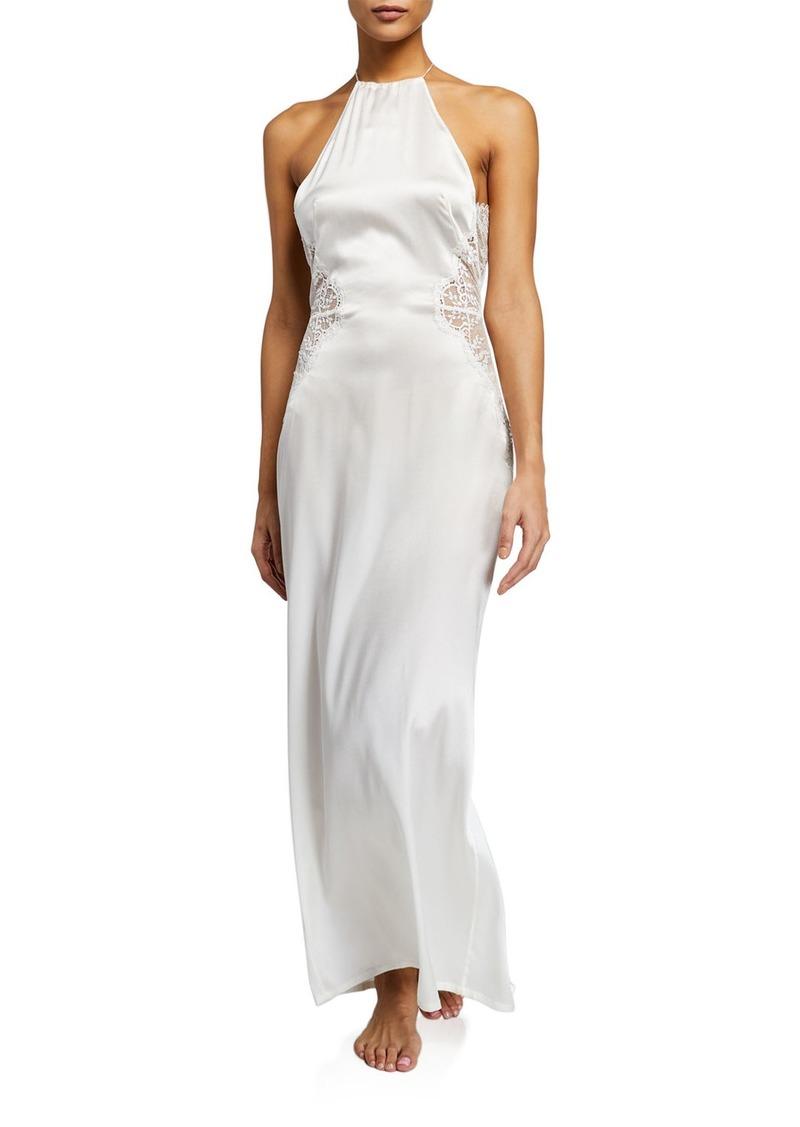 La Perla Exotique Lace-Inset Silk Nightgown