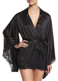 La Perla Azalea Lace-Trimmed Short Kimono Robe