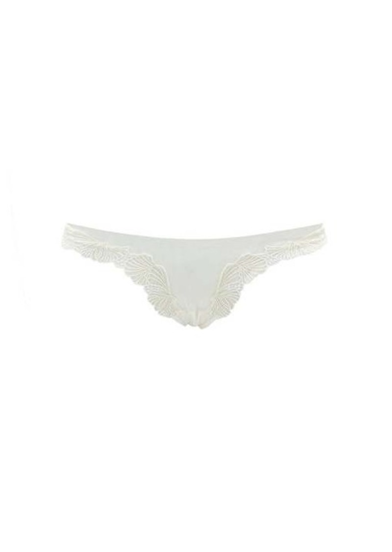 La Perla Camelia floral-embroidered Brazilian briefs