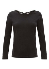 La Perla Lace-trimmed cotton-blend jersey pyjama top