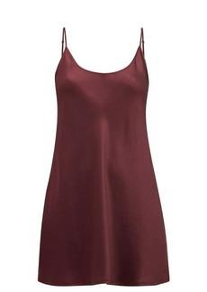 La Perla Scoop-neck short silk-satin slip dress