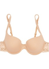 La Perla Souple Lace-trimmed Stretch Cotton-blend Jersey Contour Bra