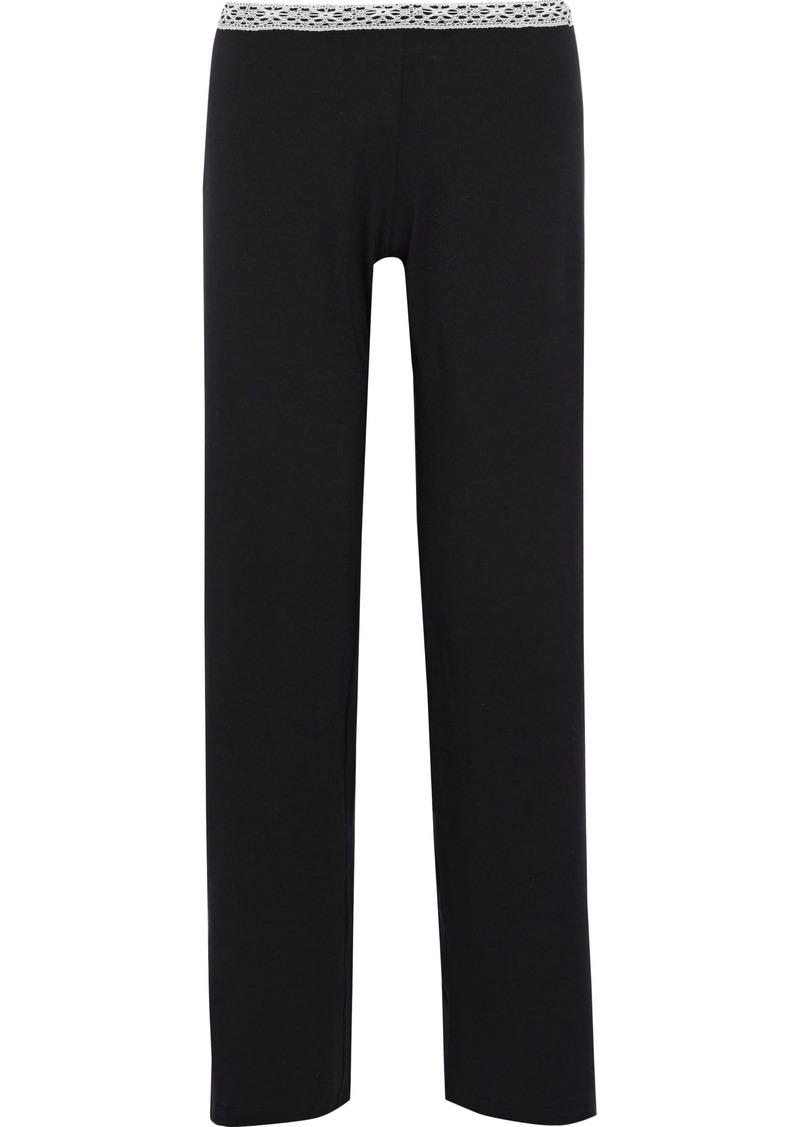 La Perla Woman Soft Touch Lace-trimmed Stretch-jersey Pajama Pants Black