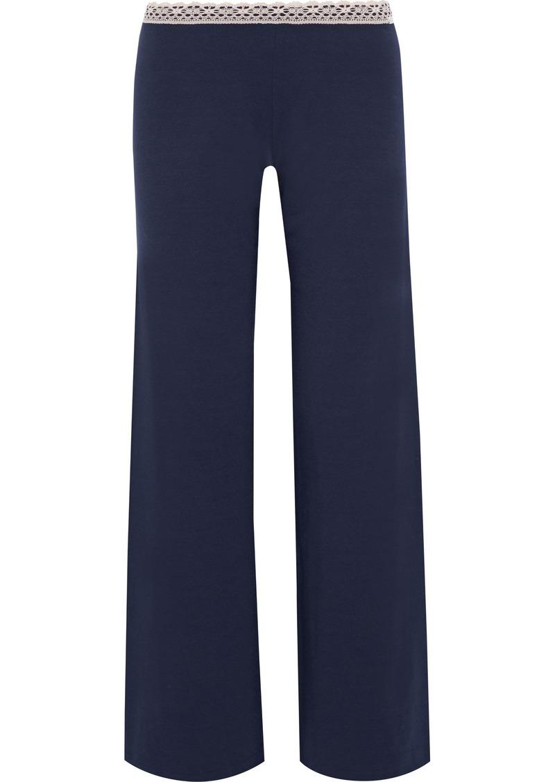 La Perla Woman Soft Touch Lace-trimmed Stretch-jersey Pajama Pants Navy