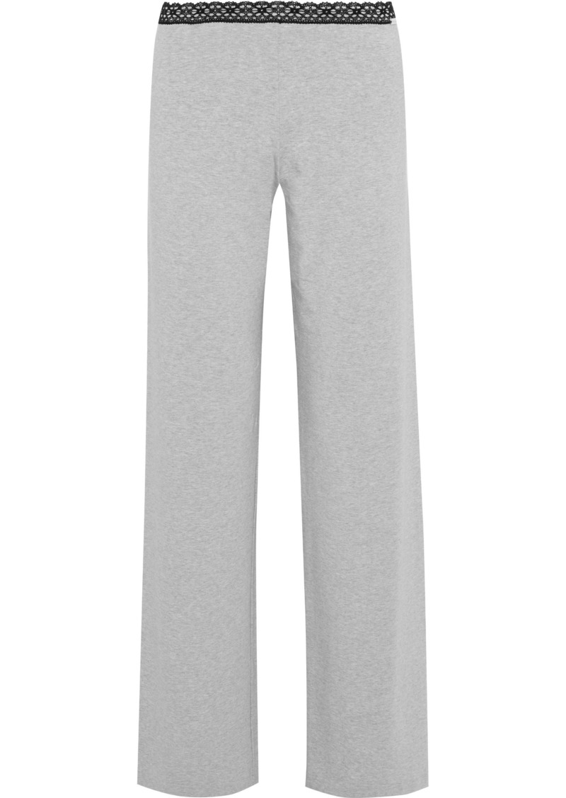 La Perla Woman Soft Touch Lace-trimmed Stretch-jersey Pajama Pants Stone
