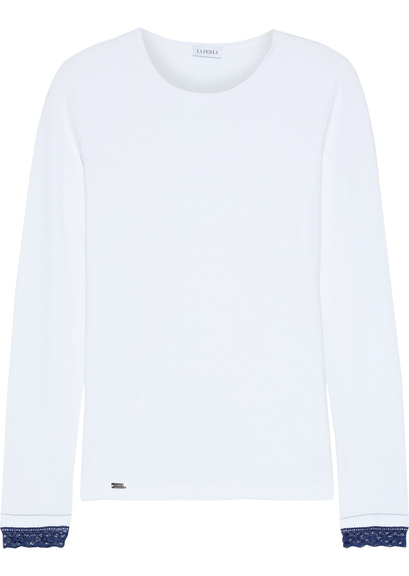 La Perla Woman Soft Touch Lace-trimmed Stretch-jersey Pajama Top White
