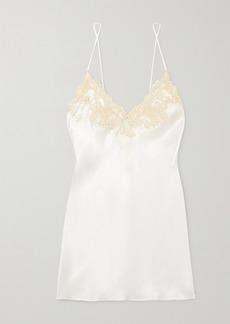 La Perla Lace-trimmed Silk-charmeuse Chemise