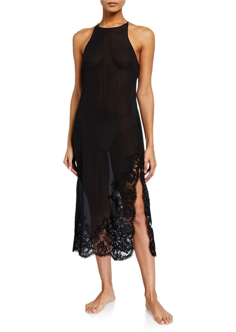 La Perla Lawinia Rose Lace-Trim Nightgown