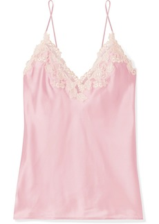La Perla Maison Embroidered Lace-trimmed Silk-blend Satin Camisole