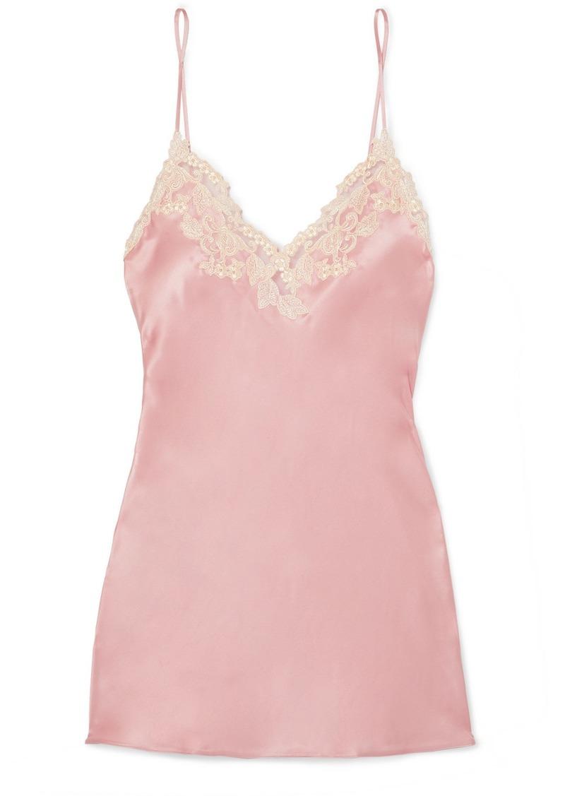 La Perla Maison Embroidered Lace-trimmed Silk-blend Satin Chemise