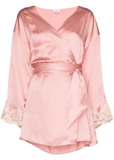 La Perla Maison lace-trimmed silk-blend robe