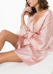 La Perla Maison lace-trimmed silk-blend robe