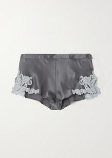 La Perla Maison Lace-trimmed Silk-charmeuse Shorts