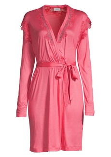 La Perla Short Lace-Trim Stretch-Silk Wrap Robe