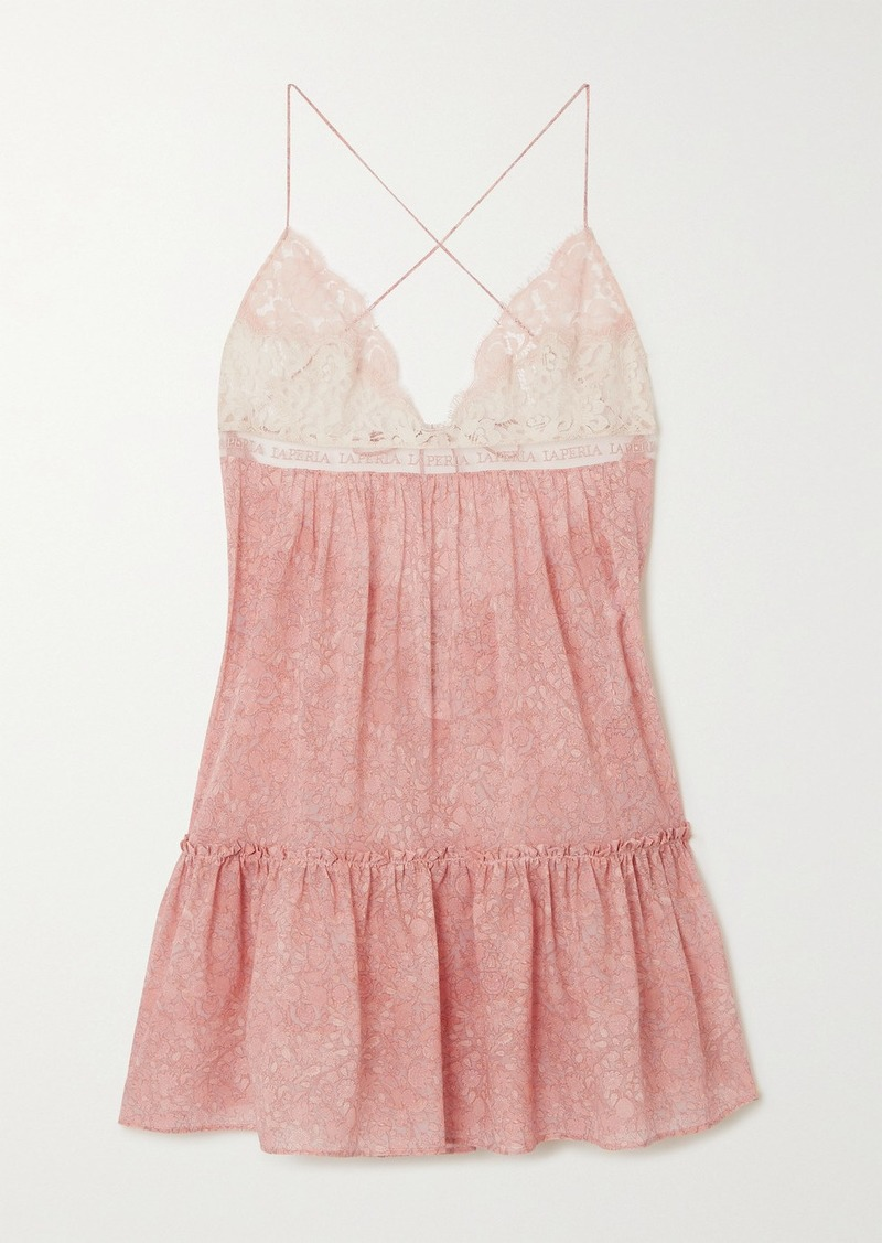 La Perla Tree Of Life Leavers Lace And Embroidered Tulle-trimmed Floral-print Stretch-silk Chemise