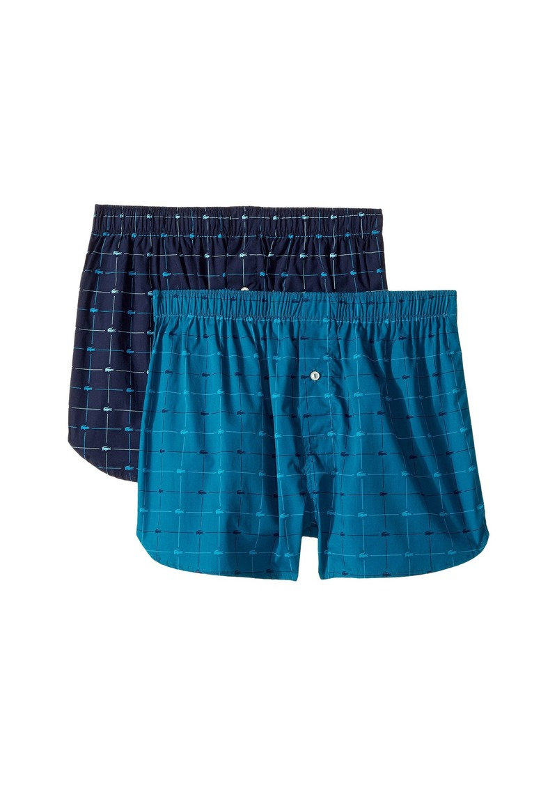 7346c56bf791 On Sale today! Lacoste Authentics 2-Pack Signature Print Woven Boxers