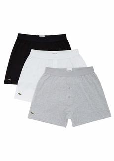 Lacoste Men's Essentials Classic 3 Pack 100% Cotton Knit Boxers  XS