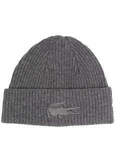 Lacoste embroidered crocodile ribbed-knit beanie