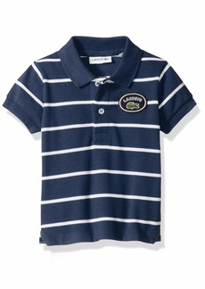 Lacoste Big Boy Short Sleeve Striped Heritage Badge Pique Polo