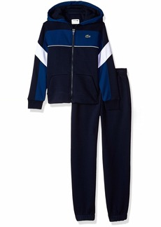 Lacoste Big Boy Sport Mix of Fabrics Color Block Tracksuits Navy Blue/Inkwell-White-W