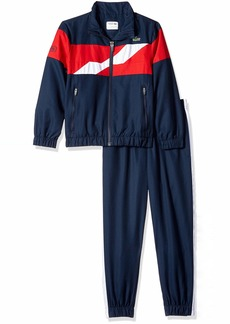 Lacoste Big Boy Sport Taffetas Color Block Chest Band Tracksuits Navy Blue/Lighthouse red