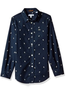 Lacoste Big Long Sleeve All Over Space Man Print Shirt Boys