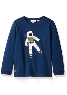 Lacoste Big Boys' Long Sleeve Space Man Graphic T-Shirt