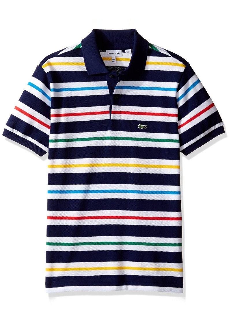 bb51699ee Lacoste Lacoste Big Boys  Short Sleeve Multi Color Stripe Polo Shirt ...
