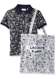 Lacoste Big Boys' Short Sleeve Omy All Over Print Polo
