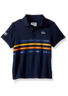 Lacoste Big Boys' Short Sleeve Ultra Dry Player Outfit Polo Navy Blue/Marino-Buttercup-Apricot