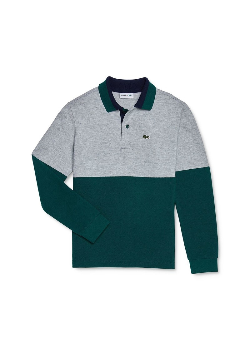Lacoste Boys' Color-Block Long Sleeve Polo Shirt - Little Kid, Big Kid