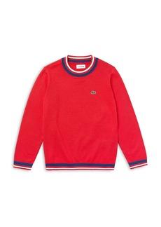 Lacoste Boys' Cotton Blend Crewneck Sweater - Little Kid, Big Kid