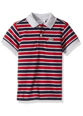 Lacoste Boys' Short Sleeve Small Multi Stripe Pj8910 Navy Blue/Silver Chine-Ladybird