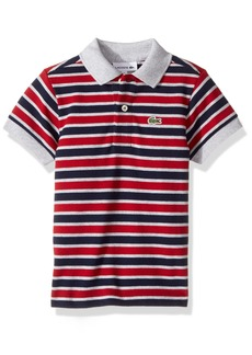 Lacoste Boys' Short Sleeve Small Multi Stripe Pj8910 Navy Blue/Silver Chine-Ladybird